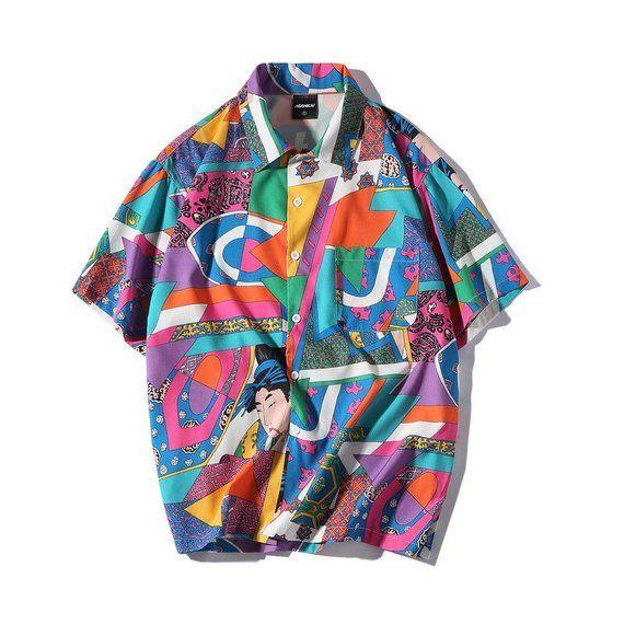 d2bb1440d Japanese Hawaiian Shirt, Ukiyo-e Vintage Japan Illustration Pattern Button  Down, Button Up Shirt, N | Products in 2019 | Japanese streetwear, Shirts,  Casual ...