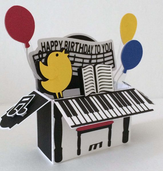 Happy Birthday Piano Card In A Box 3D SVG by MyCasualWhimsy,