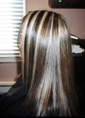Expresso brown with thick blonde highlights