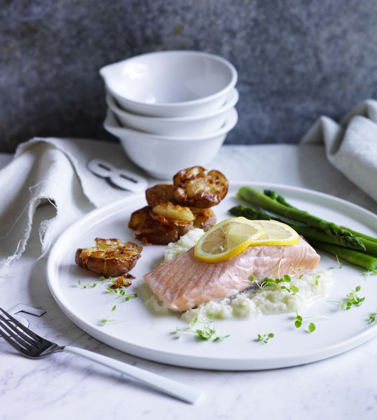 Salmon with fennel puree and crispy smashed potatoes p.150 | Thermomix cookbook | Something for Everyone