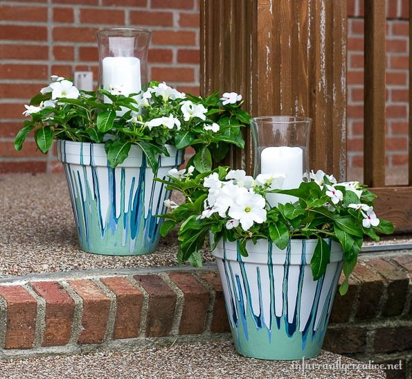 painted drip pots with candles and flowers - Outdoor Flower Pots