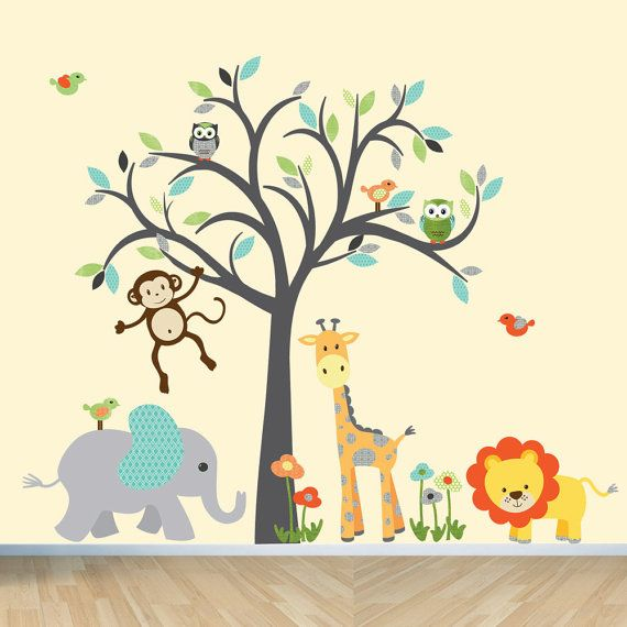 Jungle Animal wall decal vinyl jungle by StickItDecalDesigns, $110.00