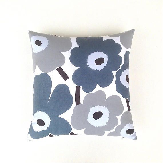 Grey Scandinavian Cushion. Grey Floral Cushion. Shades of