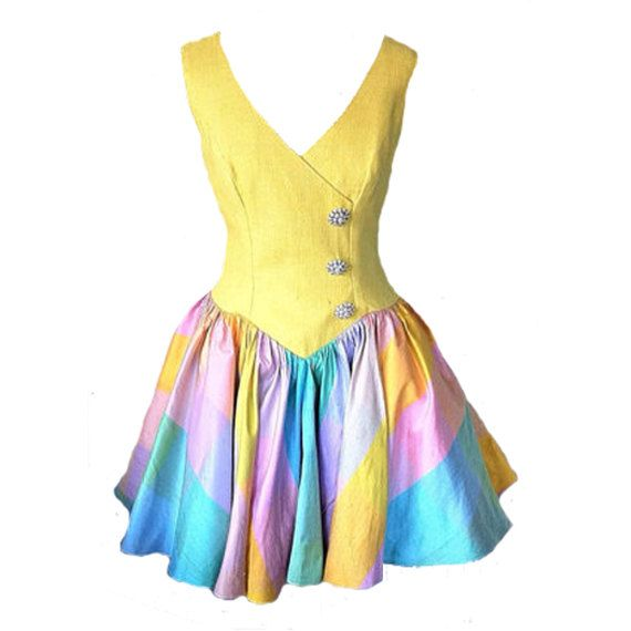 Vintage Silk Dress Fun Party Cocktail Fitted Yellow Bodice Pastel Multicoloured skirt by TeaJay, #Wicksteads #LuminousLemon