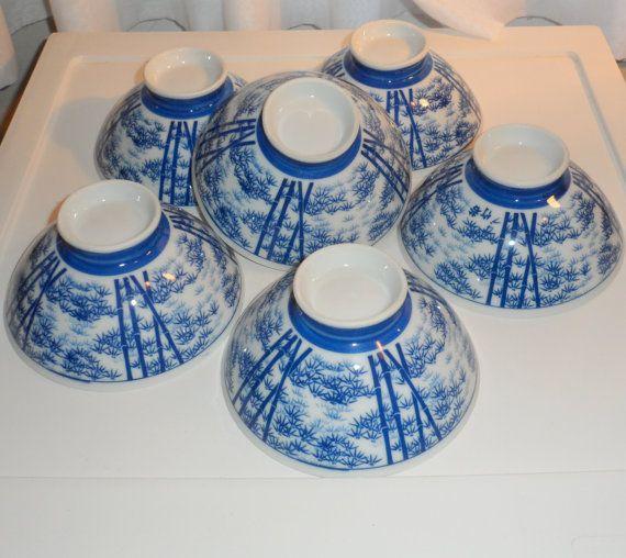1960s Vintage Asian Tea or Rice Bowls Porcelain Rice by BYGONERA