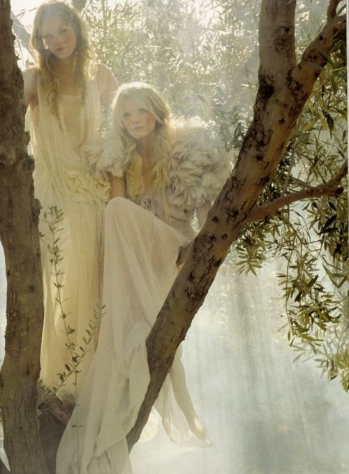ethereal girls in tree wearing white and cream sheer gowns, forest, nymph