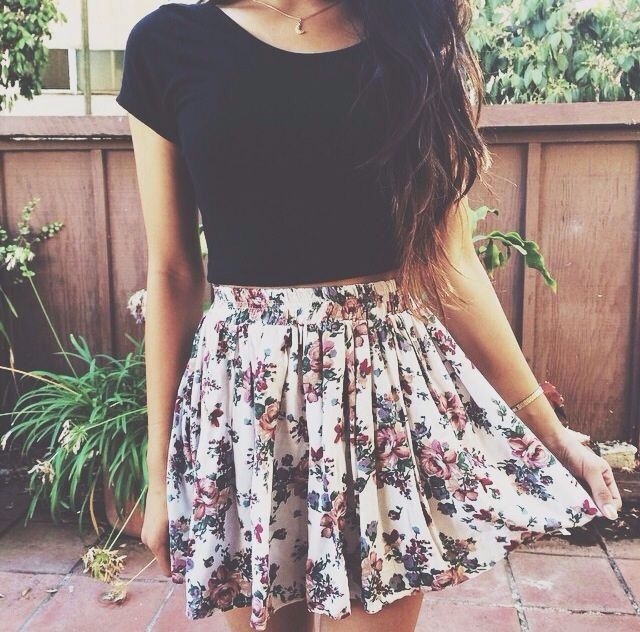 i've a tendency of liking dresses with plain-coloured tops with a floral skirt