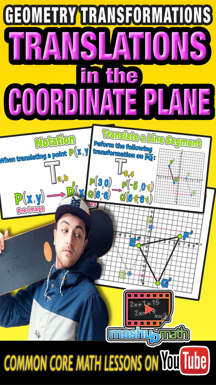 Check out our common core geometry lesson on translating points, lines, and figures in the coordinate plane. We use animation software to make colorful and visual lessons to help students to better understand math! Be sure to check out and subscribe to our YouTube channel. We add new lessons every week :)