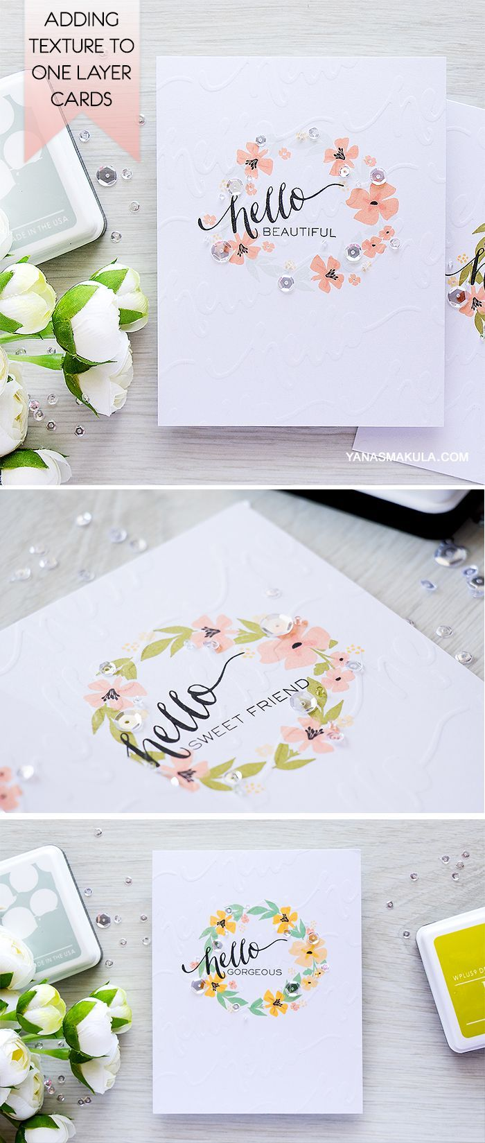 Add subtle texture to one layer cards with a DIY embossing plate made using dies! Create these cards with WPlus9 stamps and inks. For details and video tutorial visit http://www.yanasmakula.com/?p=54677