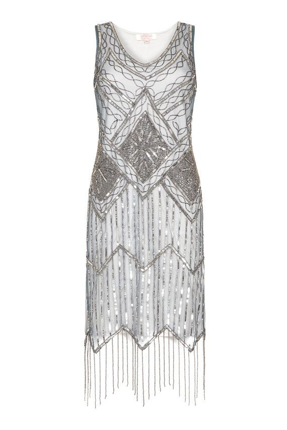UK28 US24 AUS28 Grey Blue Vintage inspired 20s vibe Flapper Great Gatsby Beaded Charleston Sequin Art Deco Wedding Party Dress New Hand Made