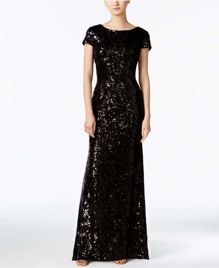 bbe7ce938aa6 Draped-Back Sequined Gown | Dresses | Formal dresses, Calvin klein ...