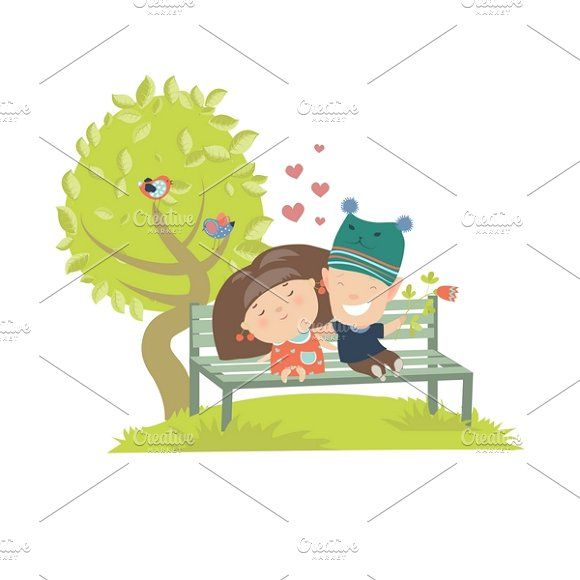 Teenagers couple  sitting on bench by masastarus on @creativemarket