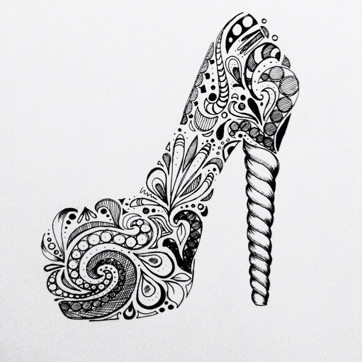 zentangles shoe pump high heels swirl black and white ink pattern painted clothes pinterest. Black Bedroom Furniture Sets. Home Design Ideas