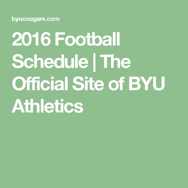 2016 Football Schedule | The Official Site of BYU Athletics