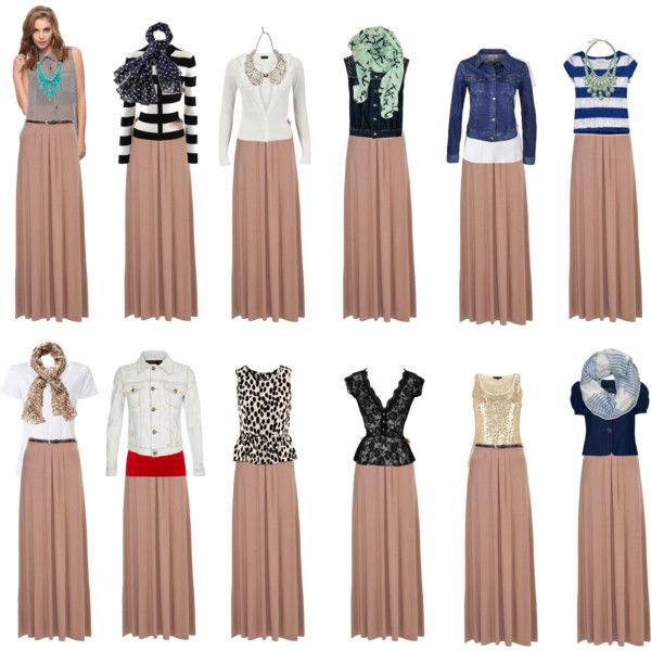 Inspiration... 12 outfits with the same tan maxi. How to wear a maxi skirt?