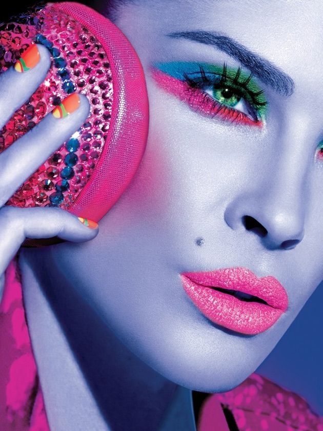 Futuristic. Bright pop colors.: Face, Make Up, Fashion, Color, Makeup, Pink, Beauty, Maybelline, Eye