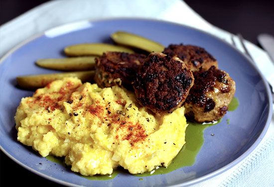 The ultimate paleo comfort food - succulent seasoned meatballs with cuddly cauliflower and pumpkin mash. Who says paleo diet is boring?