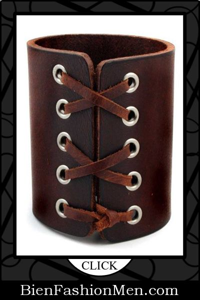 Mens Leather Cuffs | Mens Bracelets | Mens Jewelry | Mens Accessories | Bracelets on Men | Mens Jewelery | Shop Now ♦ Laced Brown Leather Gothic Rock Star Cuff Bracelet $24.00