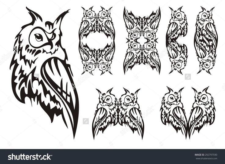 Attractive Black Tribal Owl Tattoo Flash