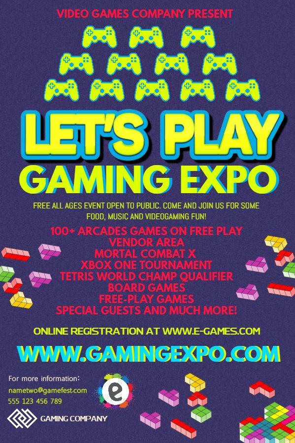 Letu0027s play gaming poster design template Click to customize - fun poster templates