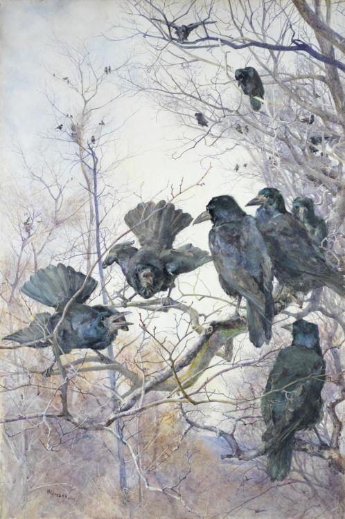 pintoras:Mildred Anne Butler (Irish, 1858 - 1941): A Murder of Crows (via Bonhams)