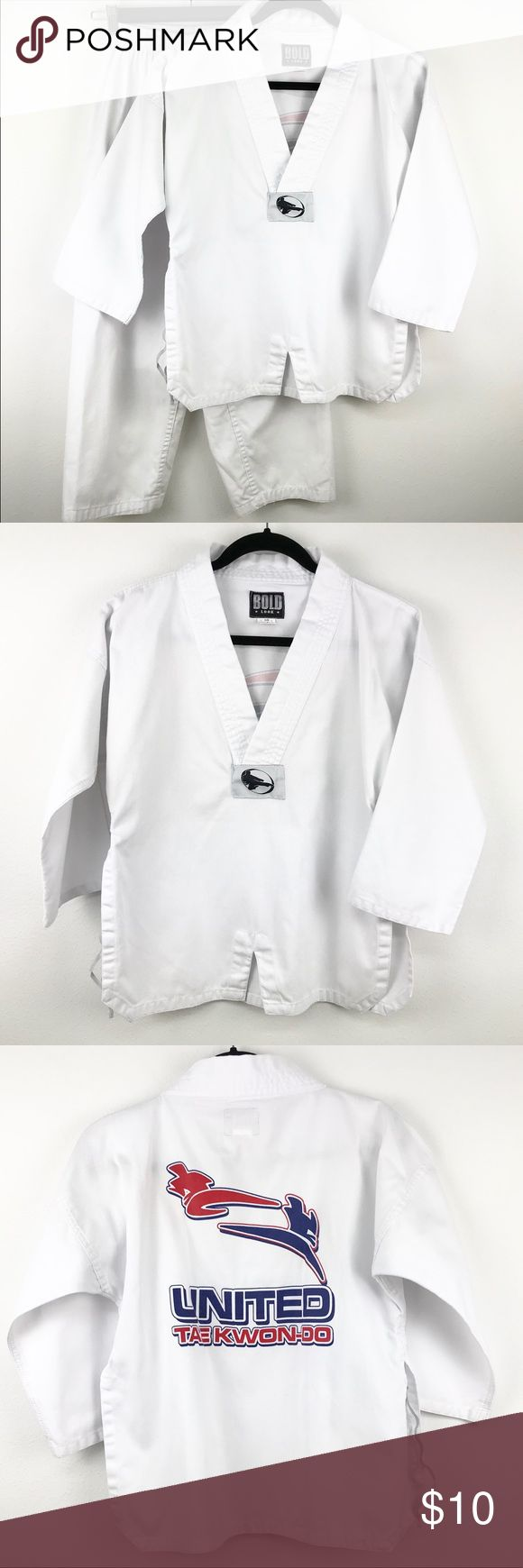 """Kids Karate Outfit White 3 Piece Set (165) Excellent used condition! No flaws. Kids unisex uniform for Karate & Tae Kwon Do. Great for dress up or costume too! Included is the top, pants & belt.  Size 1  Approximate Measurements Laying Flat: TOP: Shoulder- 22 1/2"""" Bust- 19 1/2"""" Length- 23 1/2""""  PANTS: Waist- 10 1/2"""" (17"""" stretched) Length- 32"""" ( From waist to ankle)  •Pet & Smoke Free Home •No Trades •BUNDLE DISCOUNT🛍  Feel free to make offer or ask questions! Thanks for visiting my closet…"""