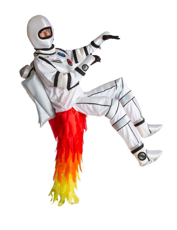 Travestimento adulto astronauta con coda a rettore: Quseto costume austronauta adulto é composta da 1 maglia , 1 pantalone un casco ,1 paio di polsini e 1 paio di guanti.La maglia é bianca ed é imbottita sulla pancia e...