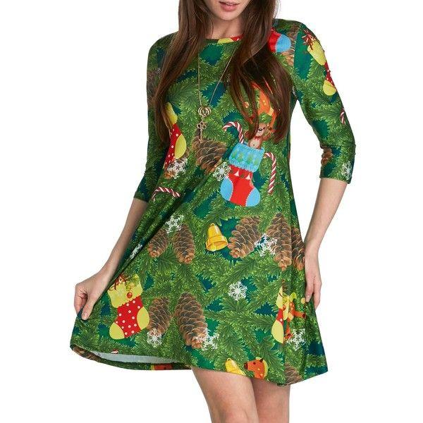 Rotita Christmas Stocking Print Three Quarter Sleeve Shift Dress ($26) ❤ liked on Polyvore featuring dresses, green, 3 4 sleeve shift dress, christmas print dresses, 3 4 length sleeve dress, christmas dresses and 3/4 sleeve dresses