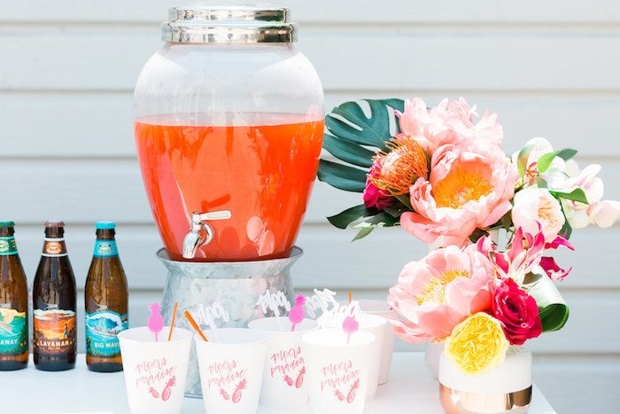 Beverage dispenser from a Tropical Birthday Party on Kara's Party Ideas | KarasPartyIdeas.com (29)