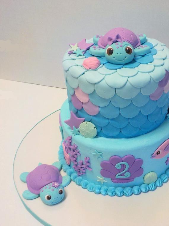 Fondant Meeresschildkröte Cake Topper 1. Geburtstag Baby Shower Flower | Etsy   – Torten