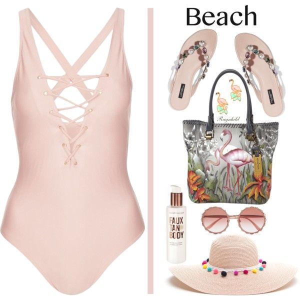 A fashion look from June 2017 featuring Topshop one-piece swimsuits, Dolce&Gabbana sandals and Anuschka tote bags. Browse and shop related looks.