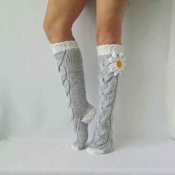 Grey socks with Сamomile. Knit socks. Handmade Knee high Socks Wool socks Warm winter socks.