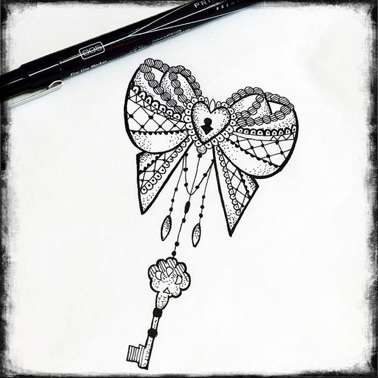 Bow heart lock key tattoo design. Mandala art, Mehndi tattoo and laces tattoo design. Drawn by Jenny Forth at Circus Tattoo in Miami Beach, FL.  Instagram: jenny_tat2