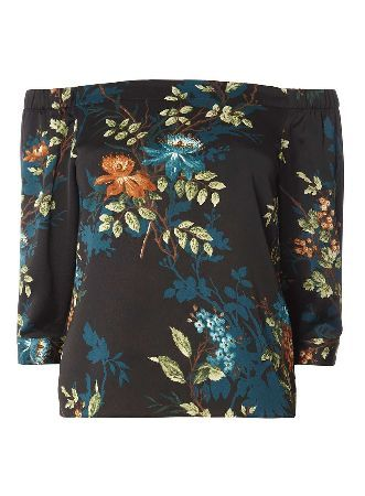 Dorothy Perkins Womens Petite Satin Floral Bardot Top- Blue Petite satin, floral bardot top. 100% Polyester. Machine washable. http://www.MightGet.com/april-2017-1/dorothy-perkins-womens-petite-satin-floral-bardot-top-blue.asp