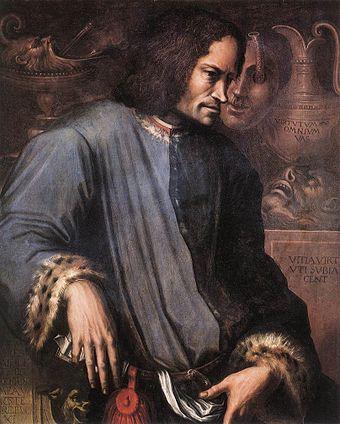 Lorenzo de' Medici (1449-1492) -- a great patron of the arts during the Golden Age of Florence in the Italian Renaissance. Grandson of Cosimo de Medici.