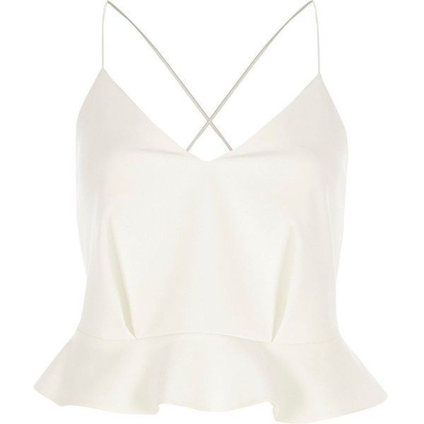 River Island White peplum cross back cropped cami top ($60) ❤ liked on Polyvore featuring tops, white, cami / sleeveless tops, women, white camisole, white peplum top, crop tops, white camisole top and camisole tops