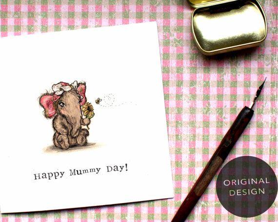 Mummy Day Mothers Day Card Elephant Card Mum Card by BEEcardsUK