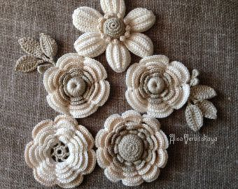 Application 2 4 5-10 cm Irish crochetclothingflowers by AlisaSonya