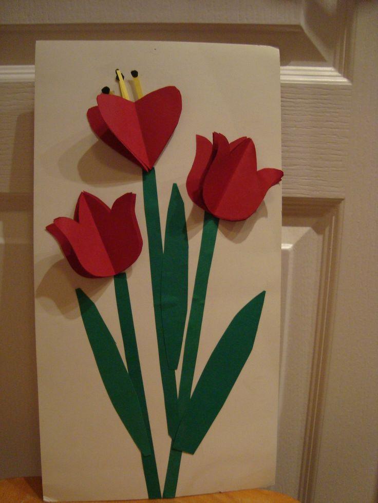 3d-tulpen door kinderen aan te vullen met bijen of andere insecten.