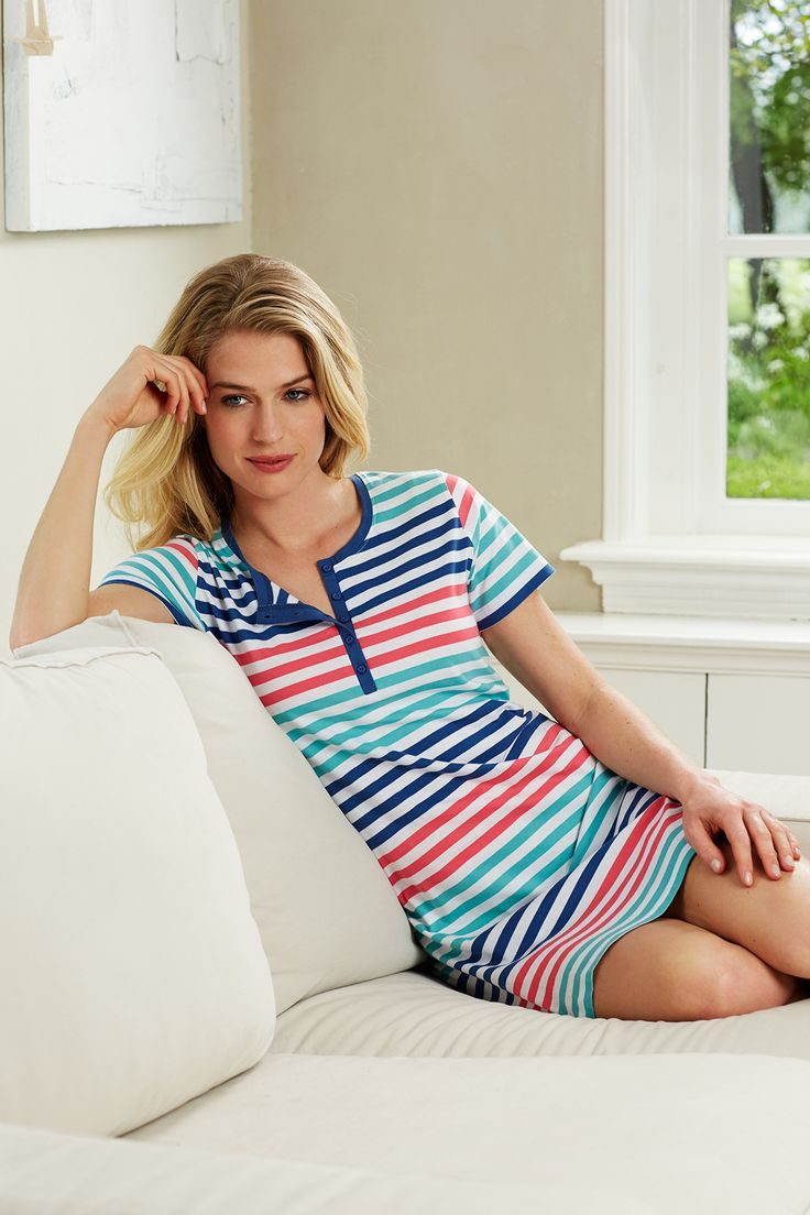 Pastunette short sleeved comfy nightdress with indigo, red & green stripes