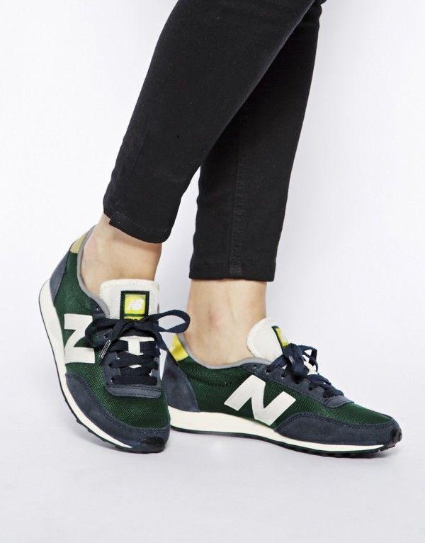 Chaussures Sport New Balance 410 Heritage Femme Marine Jaune Vert électrique Blanc