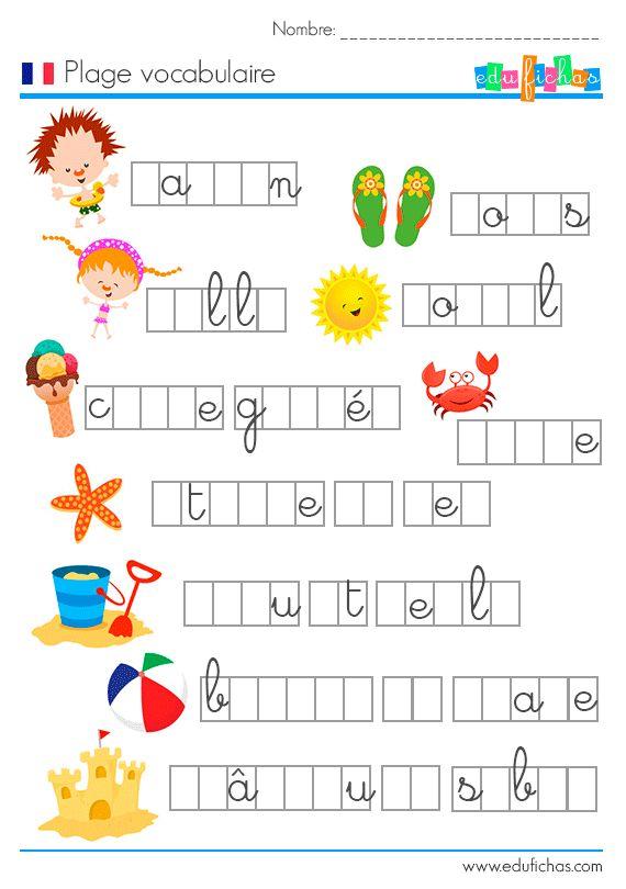 ejercicio vocabulario francés completar