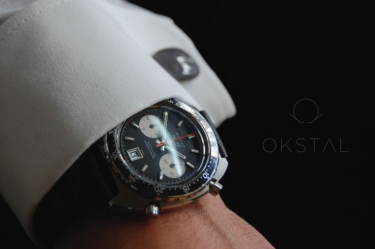 Heuer Autavia with OKSTAL shirt equipped with self holding and assymmetrized french style watchcuff