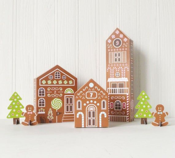 Printable Advent Calendar Gingerbread Houses Diy Paper Etsy Christmas Advent Calendar Diy Printable Advent Calendar Diy Advent Calendar