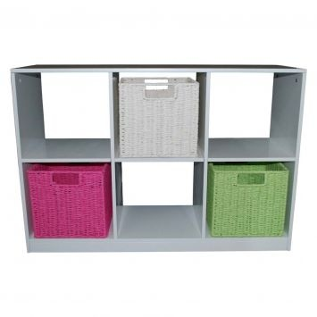 I have a shelving unit similar to this, I like these baskets.