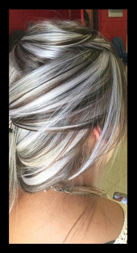 Picture end result for grey hair highlights and lowlights