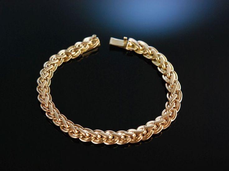 Beautiful Gold Bracelet! Wundervolles Vintage Armband 585 Rosé Gold 21,2 Gramm, hochwertiger Goldschmuck bei Die Halsbandaffaire