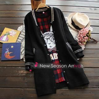 Buy 'Flower Idea – V-Neck Long-Sleeve Striped Cardigan' with Free International Shipping at YesStyle.com. Browse and shop for thousands of Asian fashion items from China and more!