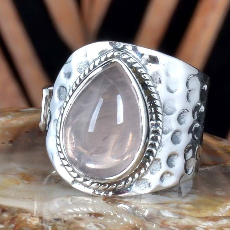 EXCLUSIVE 925 SOLID STERLING SILVER ROSE QUARTZ FANCY RING 7.19g DJR11434 SZ-8 #Handmade #Ring
