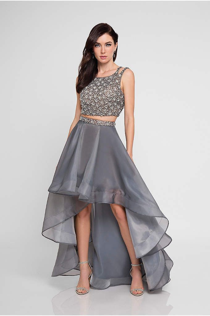 d54c3fb14ebdda Beaded Organza Two-Piece Dress with High-Low Skirt - The high-neck crop top  of this two-piece dress